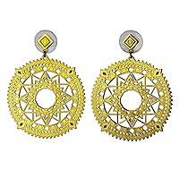 Gold plated dangle earrings, 'Solar Stars' - Gold Plated Circular Earrings with Cutout Star Motifs