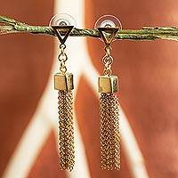 Gold plated waterfall earrings, 'Contemporary Cascade' - Handcrafted 22k Gold Plated Waterfall Earrings