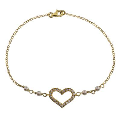 Artisan Crafted 22K Gold Plated Sterling Silver Heart Pendant Bracelet