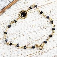 Gold plated cubic zirconia station bracelet, 'Sweet Radiance' - Handcrafted Black Cubic Zirconia Bracelet in Gold Plate