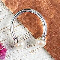 Cultured pearl wrap ring, 'Twin Luminescence' - Artisan Crafted Silver 925 and Cultured Pearl Ring