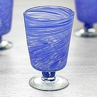 Blown glass dessert glasses, 'Cobalt Centrifuge' (set of 6) - Mexican Hand Blown Cobalt Blue 10 oz Dessert Glasses (6)