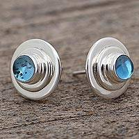 Blue topaz button earrings, 'Precious Glow' - Blue Topaz Handcrafted Taxco Sterling Silver Earrings