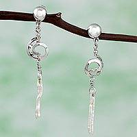 Cultured pearl dangle earrings, 'Jujube Shell' - Original Mexican Sterling Silver Earrings with Biwa Pearls