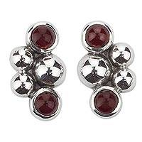 Carnelian button earrings, 'Cluster of Color' - Artisan Crafted Contemporary Silver Earrings with Carnelian