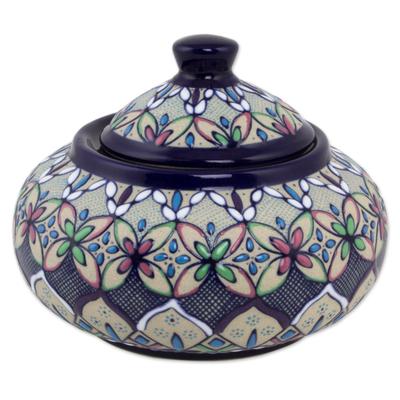 Artisan Crafted Floral Ceramic Bonbonniere Candy Jar