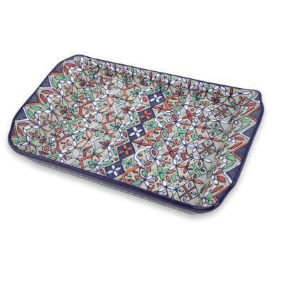 Multicolor Floral Ceramic Square Serving Tray from Mexico