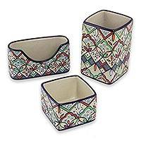 Ceramic Desk Set Guanajuato Festivals 3 Pieces Handcrafted Mexican Ceramic