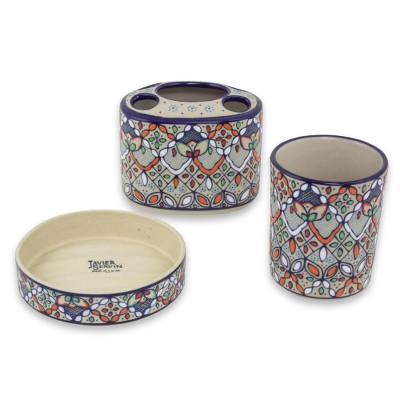Handcrafted Ceramic Bath Set (3 Pieces) from Mexico