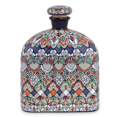Multicolor Floral Ceramic Decanter and Cork Lid