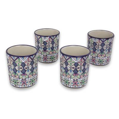 Ceramic tumblers, 'Valenciana Violets' (set of 4) - Four Handcrafted Mexican Ceramic 8-Ounce Drinking Glasses