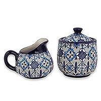 Ceramic sugar bowl and creamer, 'Blue Bajio' - Blue Floral Ceramic Sugar Bowl and Creamer Set