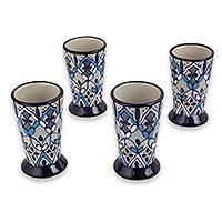 Ceramic shot glasses, 'Blue Bajio' (set of 4) - Set of 4 Artisan Crafted Ceramic Tequila Shot Glasses