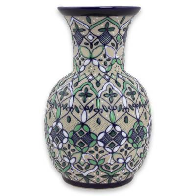 Ceramic vase, 'Mexican Mint' - Beige Ceramic 7-Inch Vase Painted in Mint and Cobalt Blue