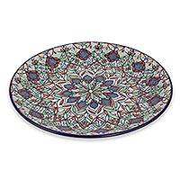 Ceramic decorative plate, 'Guanajuato Festivals' - Multicolor Floral Ceramic Decorative 10-In Plate from Mexico