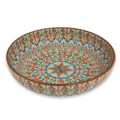 Ceramic bowl, 'Aztec Autumn' - 9-Inch Handcrafted Ceramic Bowl in Festive Autumn Tones