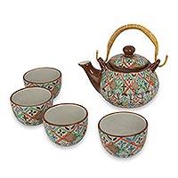 Ceramic tea set, 'Aztec Autumn' (set for 4) - Colorful Mexican Handcrafted Ceramic Tea Set for Four