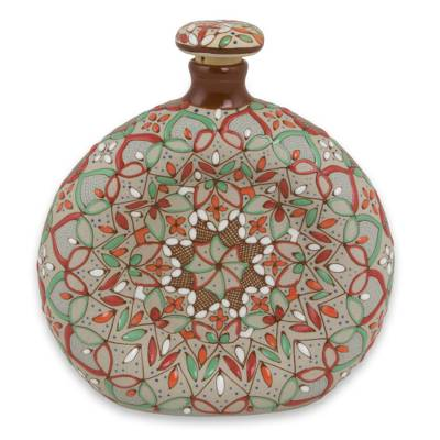 Brown and Orange Mexican Ceramic Decanter and Cork