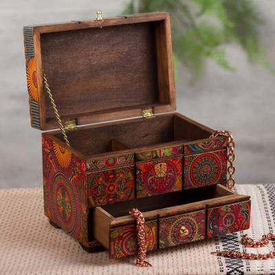 Decoupage jewelry box, 'Huichol Portal' - Multicolor Huichol Theme on Decoupage Jewelry Box