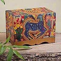 Decoupage jewelry box, 'Kawuyumaire Guardian' - Huichol Deer on Decoupage Wood Jewelry Box