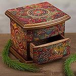 Decoupage on Pinewood Jewelry Box with Huichol Theme, 'Huichol Vision'