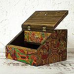 Huichol Cosmogony on 6-Inch Decoupage Wood Jewelry Box, 'Huichol Essence'