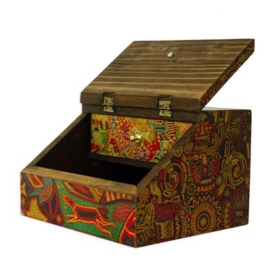 Decoupage jewelry box, 'Huichol Essence' - Huichol Cosmogony on 6-Inch Decoupage Wood Jewelry Box