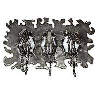 Upcycled metal coat rack, 'Stampede' - Horse Stampede Upcycled Metal Coat Rack Crafted by Hand