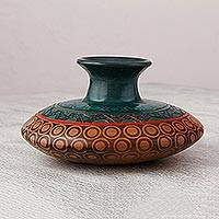 Ceramic vase, 'Forest Moon' - Handcrafted Decorative Ceramic Vase in Green and Brown