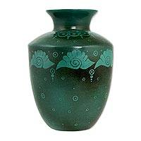 Ceramic vase, 'Camecuaro Seashells' - Green Ceramic Decorative Vase Handcrafted in Mexico
