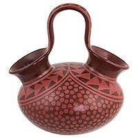 Ceramic vessel, 'Fire God Curicaueri' - Decorative Brown Ceramic Vessel Handcrafted in Mexico