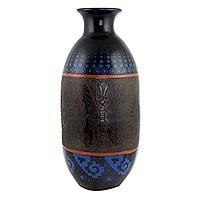 Ceramic vase, 'Angangueo Night' - Decorative Ceramic Vase with Hand Etched Butterflies