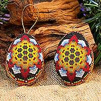 Beadwork ornaments, 'Vision Quest' (pair) - Set of Two Handcrafted Huichol Beadwork Ornaments