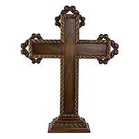 Parota wood cross, 'Colonial Cross' - Hand Carved Free Standing Mexican Hardwood Cross