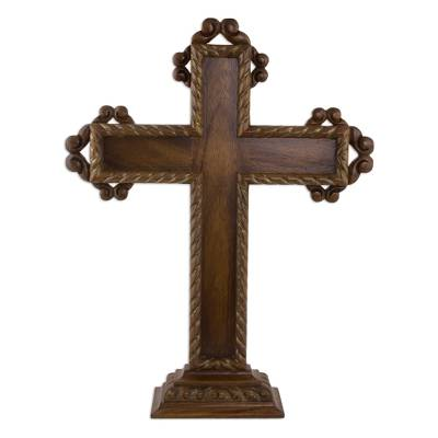 Hand Carved Free Standing Mexican Hardwood Cross