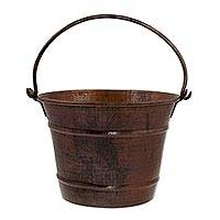 Copper bucket, 'Hacienda Charm' (7 inch) - Dark Copper 7-Inch Bucket Crafted by Hand in Mexico