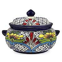 Ceramic covered serving bowl, 'Floral Joy' - Talavera-Inspired Mexican Covered Ceramic Serving Bowl