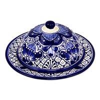 Ceramic covered cheese plate, 'Blue Guanajuato' - Talavera-Inspired Blue Covered Ceramic Cheese Plate