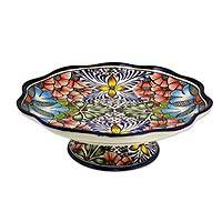 Ceramic footed fruit bowl, 'Stars and Flowers' - Mexican Majolica Handcrafted Ceramic Pedestal Fruit Bowl