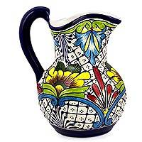 Ceramic pitcher, 'Comonfort Wildflowers' - Wildflower Motif Mexican Majolica Ceramic Pitcher
