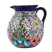 Ceramic pitcher,  Stars and Flowers' - Handcrafted Mexican Majolica Colorful Ceramic Pitcher