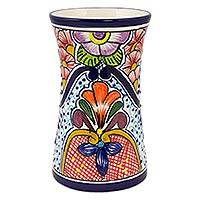 Ceramic vase, 'Radiant Flowers' - Talavera-Inspired 8-Inch Ceramic Vase from Mexico