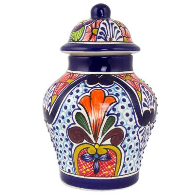 Ceramic jar, 'Radiant Flowers' - Handcrafted Talavera-Style Mexican Ceramic Lidded Ginger Jar