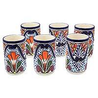 Ceramic juice glasses, 'Radiant Flowers' (set of 6) - Set of Six Talavera-Inspired Ceramic Juice Glasses