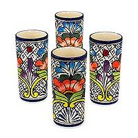 Ceramic tumblers, 'Floral Joy' (set of 4) - 4 Handcrafted Mexican Ceramic 11-Ounce Drinking Glasses Set