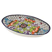 Ceramic oval serving dish, 'Floral Joy' - Oval Ceramic Floral Serving Dish Handcrafted in Mexico
