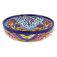 Ceramic soup bowls, 'Floral Joy' (set of 4) - Set of Four Handcrafted Mexican Ceramic 16 oz Soup Bowls