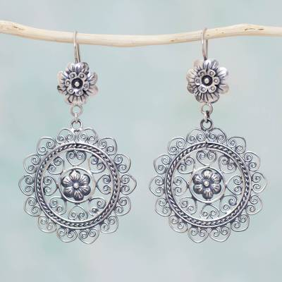 Sterling Silver Dangle Earrings Mazahua Nose Mexican Traditional Flower