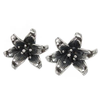 Antiqued Sterling Silver Earrings Mexican Flower Jewelry