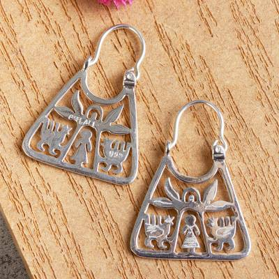 Sterling silver hoop earrings, 'Maguey Goddess' - Handmade Sterling Silver Earrings with Pre-Hispanic Themes
